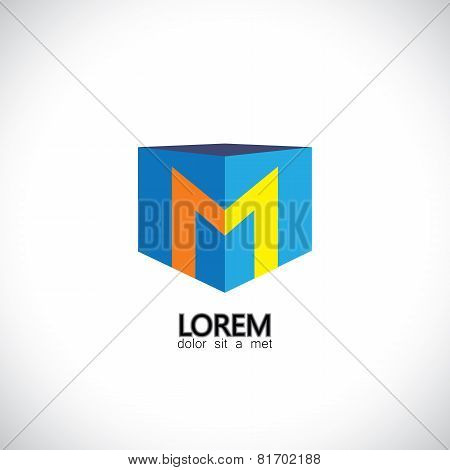 Letter M As Cube Icon Design Template Elements - Vector Graphic Illustration