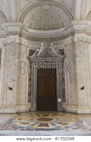 Closed door to go to the Royal Palatine Chapel in reggia di Caserta