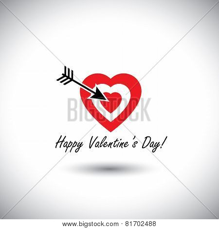 Human Heart Icon As Target For Arrow For Valentine's Day - Simple Vector