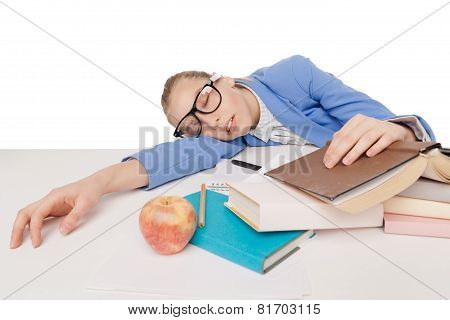 student girl in big glasses sit and sleep