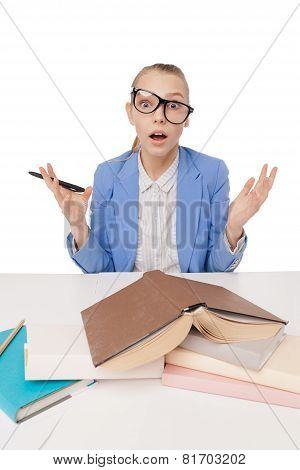 shocked, surprised student wearing glasses