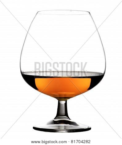 Glass with cognac on white background isolated