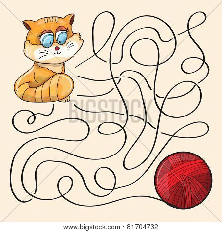 Kitten And Wool Ball