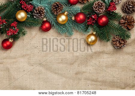 Christmas Decorate On Jute Background.