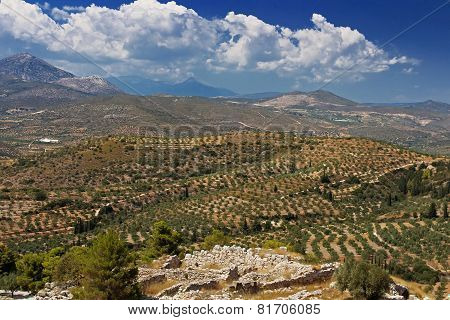 Green Hills And Valleys Around The Ruins Of Mycenae, Peloponnese, Greece