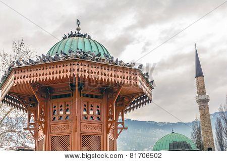 Historical Fountain In Bascarsija,sarajevo, Bosnia