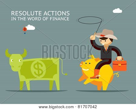 Fundraising concept. Businessman on pig catches money