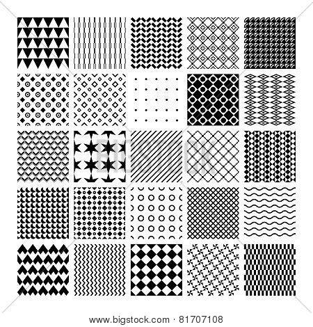 Vector monochrome seamless patterns
