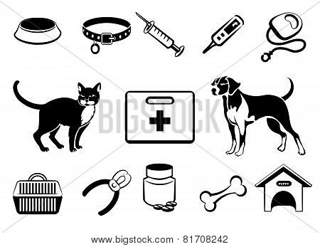 Pets veterinary medicine icons