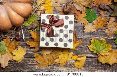 Gift Box On Autumn Background.