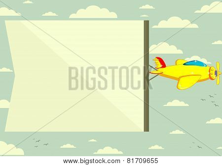 Airplane with banner, vector illustration