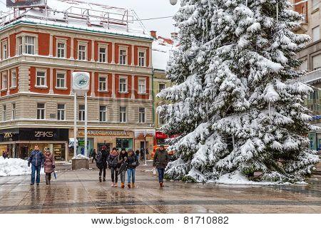 Zagreb main square in snow