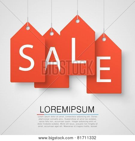 Four large orange tags with the word sale. Vector