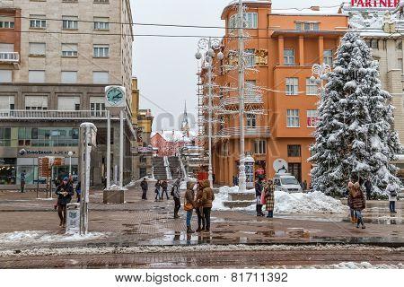 Zagreb main square snow scene