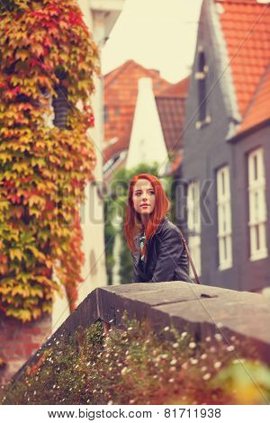 Beautiful Redhead Women In The Old City, Brugge, Belgium