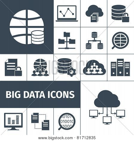 Big data icons black