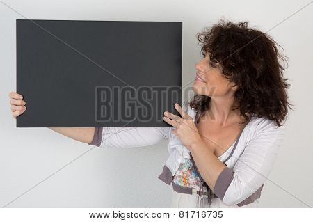 Nice Woman Pointing Copy Space On White Background