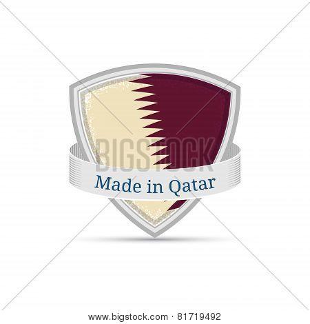 Made in Qatar, Qatar flag on the shield