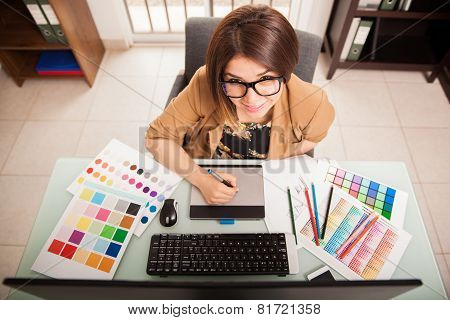 Cute Freelance Designer At Work