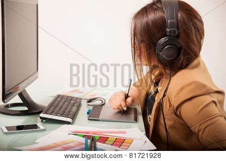 Working And Wearing Headphones