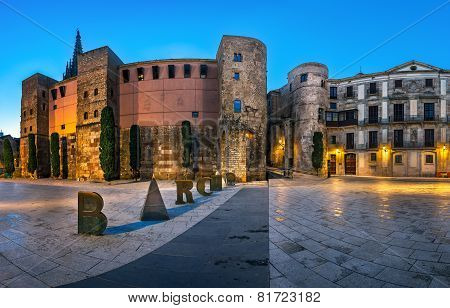 Panorama Of Ancient Roman Gate And Placa Nova In The Morning, Barri Gothic Quarter, Barcelona, Catal