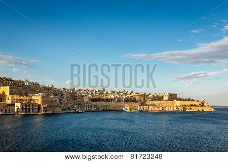 View On Valletta And Grand Harbour In The Evening, Malta