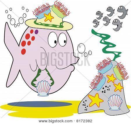 Fish fashion cartoon