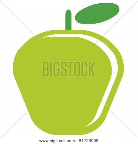 Cartoon Vector Simple Delicious Red Apple Isolated In White Background