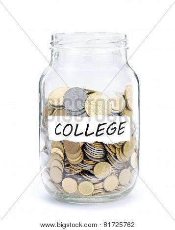 Jar with coins on College.