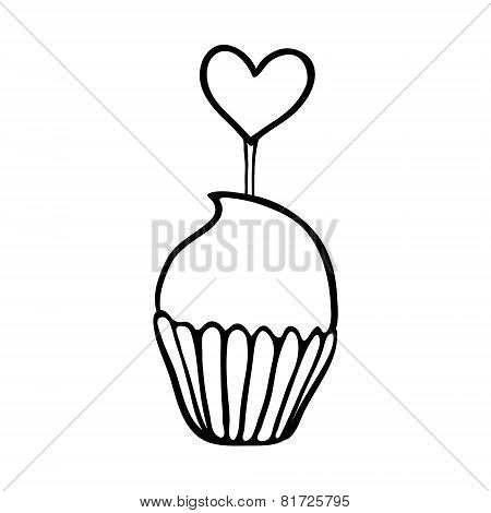 Valentine cupcake sketch with heart topper
