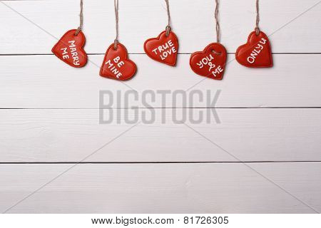 Cookies Heart Hanging On A String. Valentine's Day