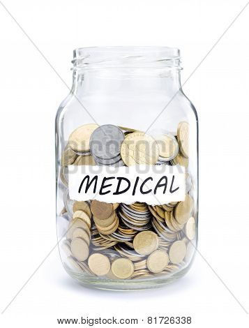 Jar with coins on Medical.