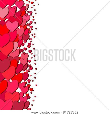 Valentines Day card with scattered hearts