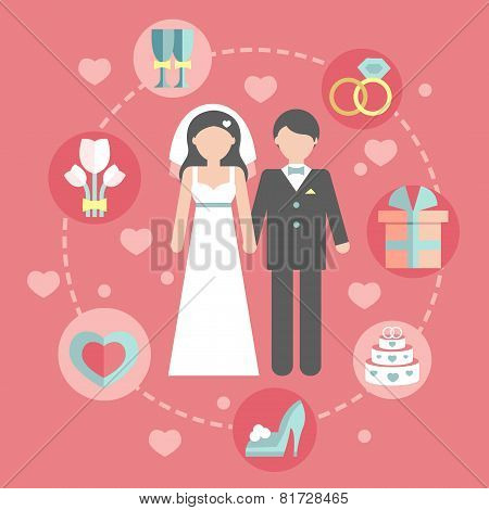 Wedding infographic set with Cartoon Bride and groom.Wedding day coast statistics design template.Ve