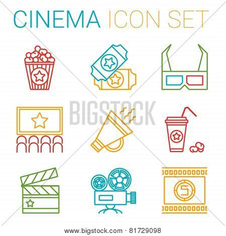 Flat line icons set of professional film production, movie shooting, studio showreel, actors casting