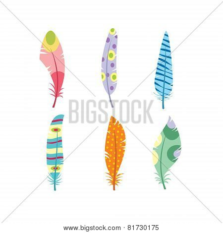 Vector colored feathers set. Bird feathers painted in colorful patterns