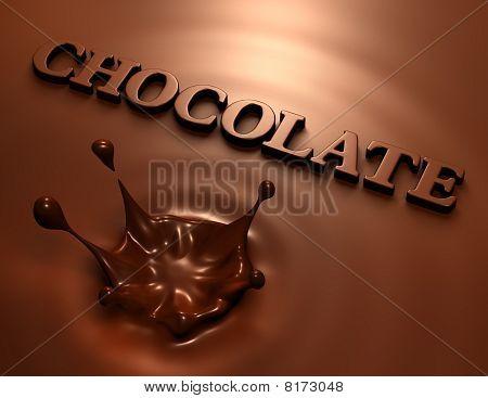 3D Chocolate Splash And Inscription