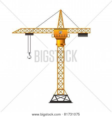 Construction Crane Isolated On White Vector
