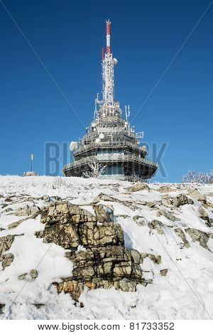 Telecommunication Tower On The Zobor Hill Near Nitra City In Winter