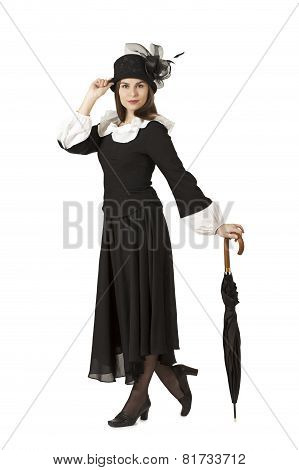 Beautiful Woman In The Role Of Mary Poppins