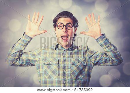 Portrait Of Funny Man In Glasses.