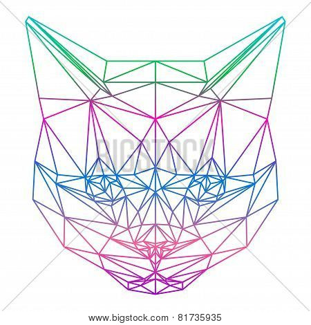 Abstract Gradient Colored Cat Silhouette Drawn In One Continuous Line