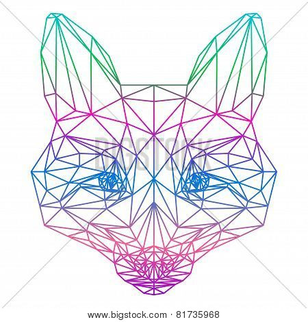 Abstract Gradient Colored Fox Silhouette Drawn In One Continuous Line