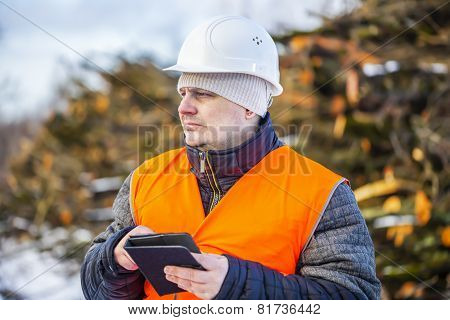 Forest engineer with tablet PC near piles of logs
