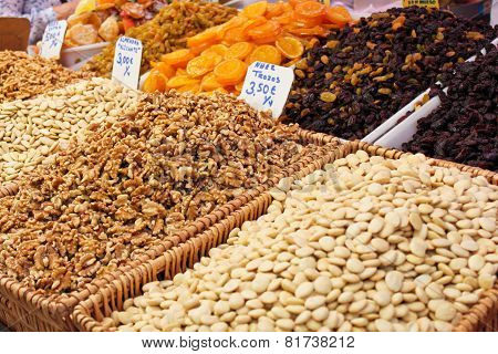Nuts And Dried Fruits On The Market