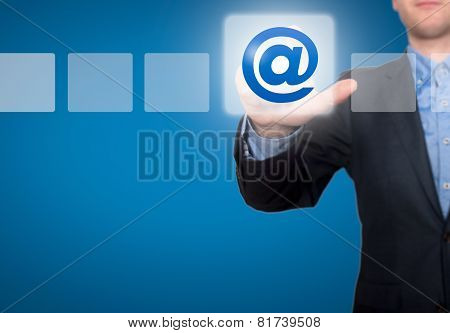 Businessman Touching Email Button and Ticking Check Boxof businessman - Stock Image