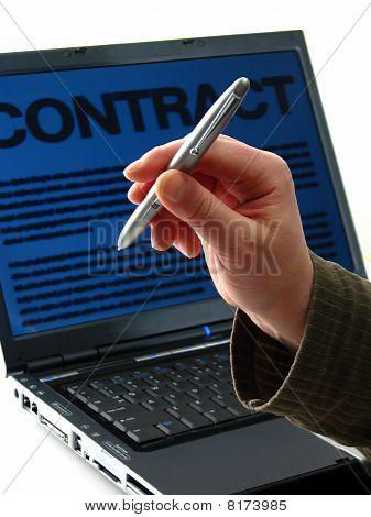Pen, Laptop, Contract