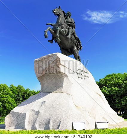 Peter I Monument Against Blue Sky. Saint-petersburg, Russia
