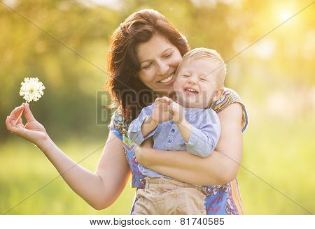 Happy mum with her son