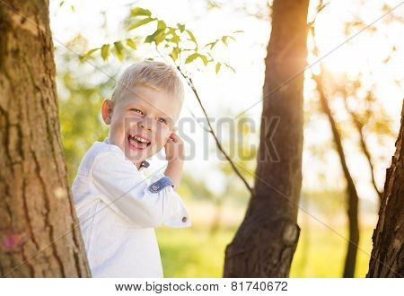 Little boy having fun in a park